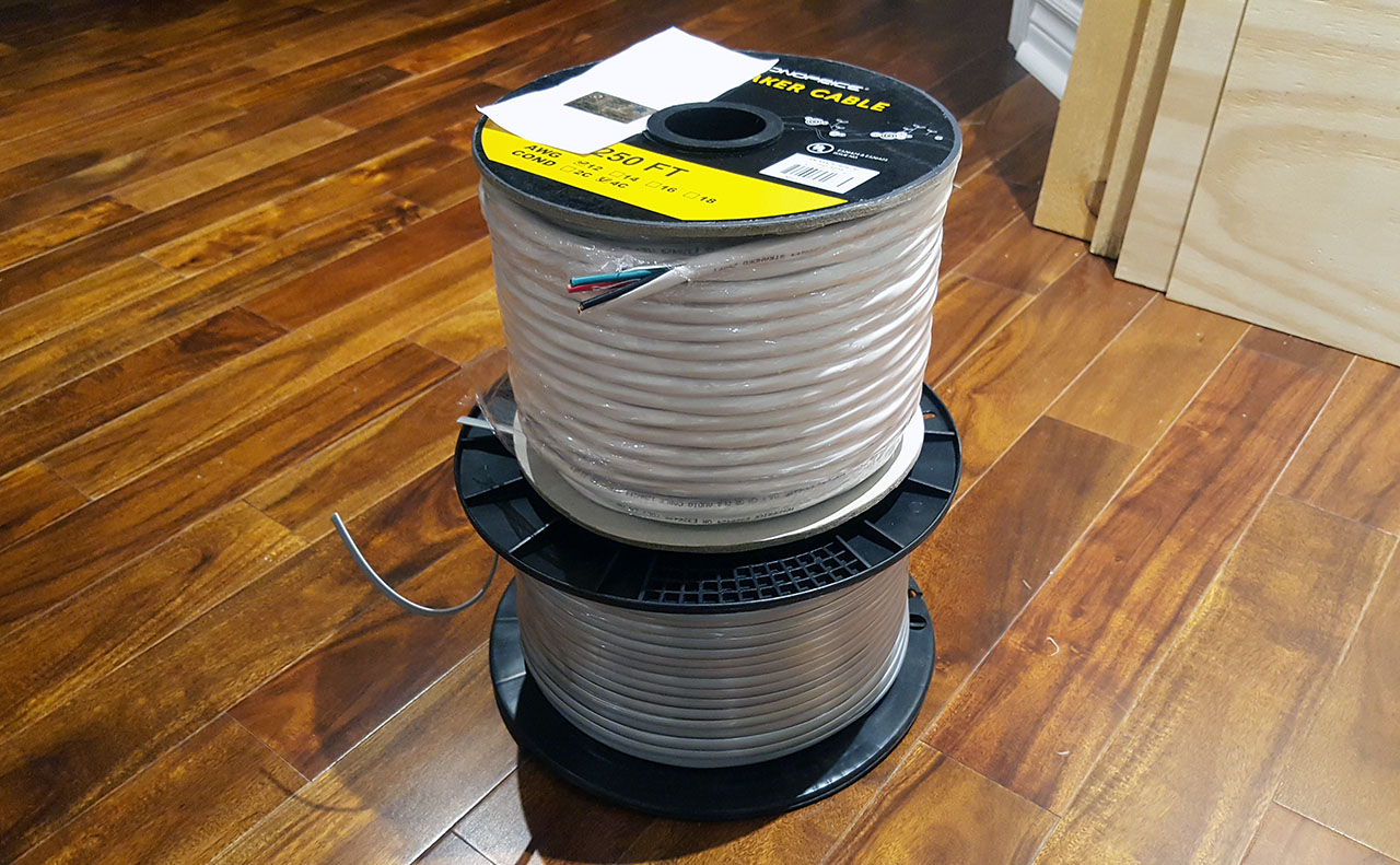 I ended up getting 250 ft. of Monoprice 12 AWG 4-conductor speaker wire, as  I liked the price, size and local availability. I have been looking at  Marine ...